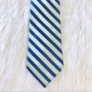 Tommy Hilfiger Blue & Green Striped Silk Tie
